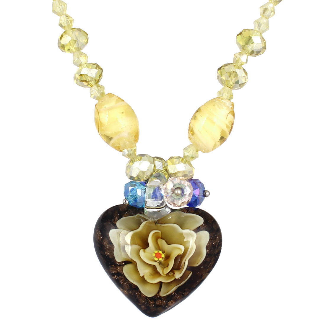 Yellow Rhinestone Inlaid Neck String Heart Flower Glass Pendant Necklace for Woman