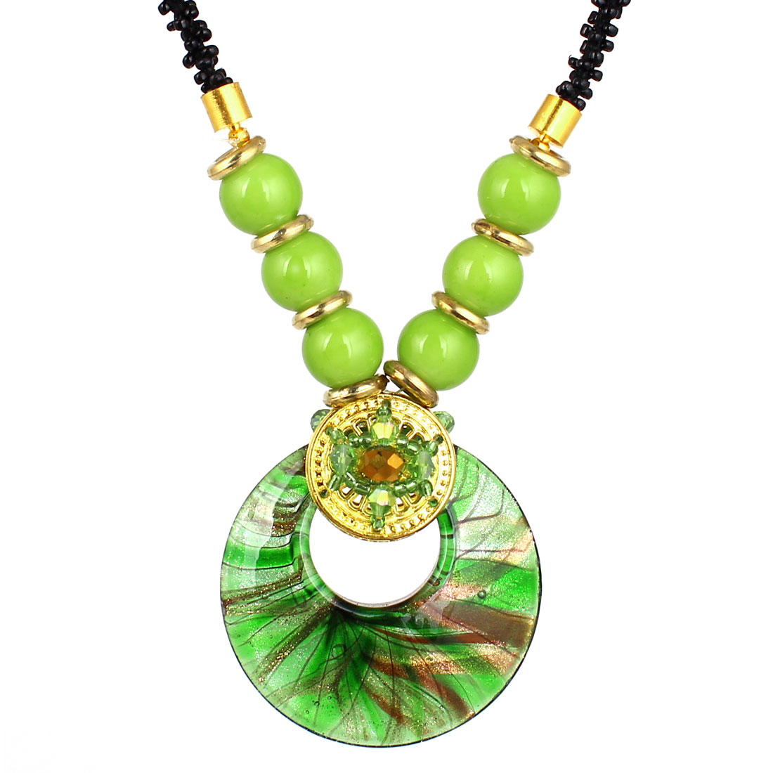 Black Green Plastic Beads Rhinestone Inlaid Glass Round Pendant Necklace for Lady