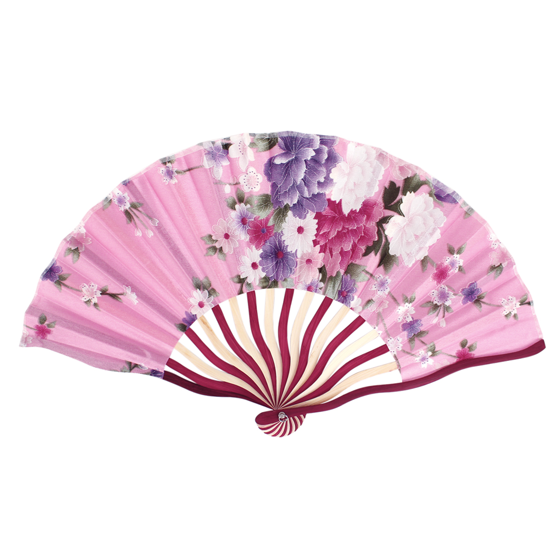 Chinese Tradition Blooming Peony Flower Print Red Wood Frame Pink Fabric Cloth Handheld Collapsible Hand Fan