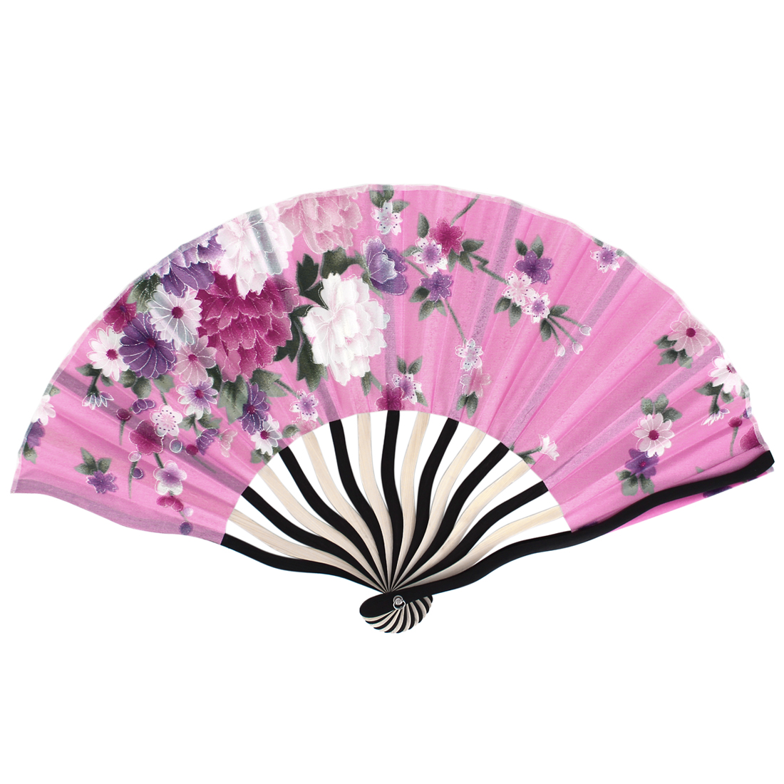 Chinese Tradition Blooming Peony Flower Print Pink Fabric Cloth Black Bamboo Frame Handheld foldable Hand Fan