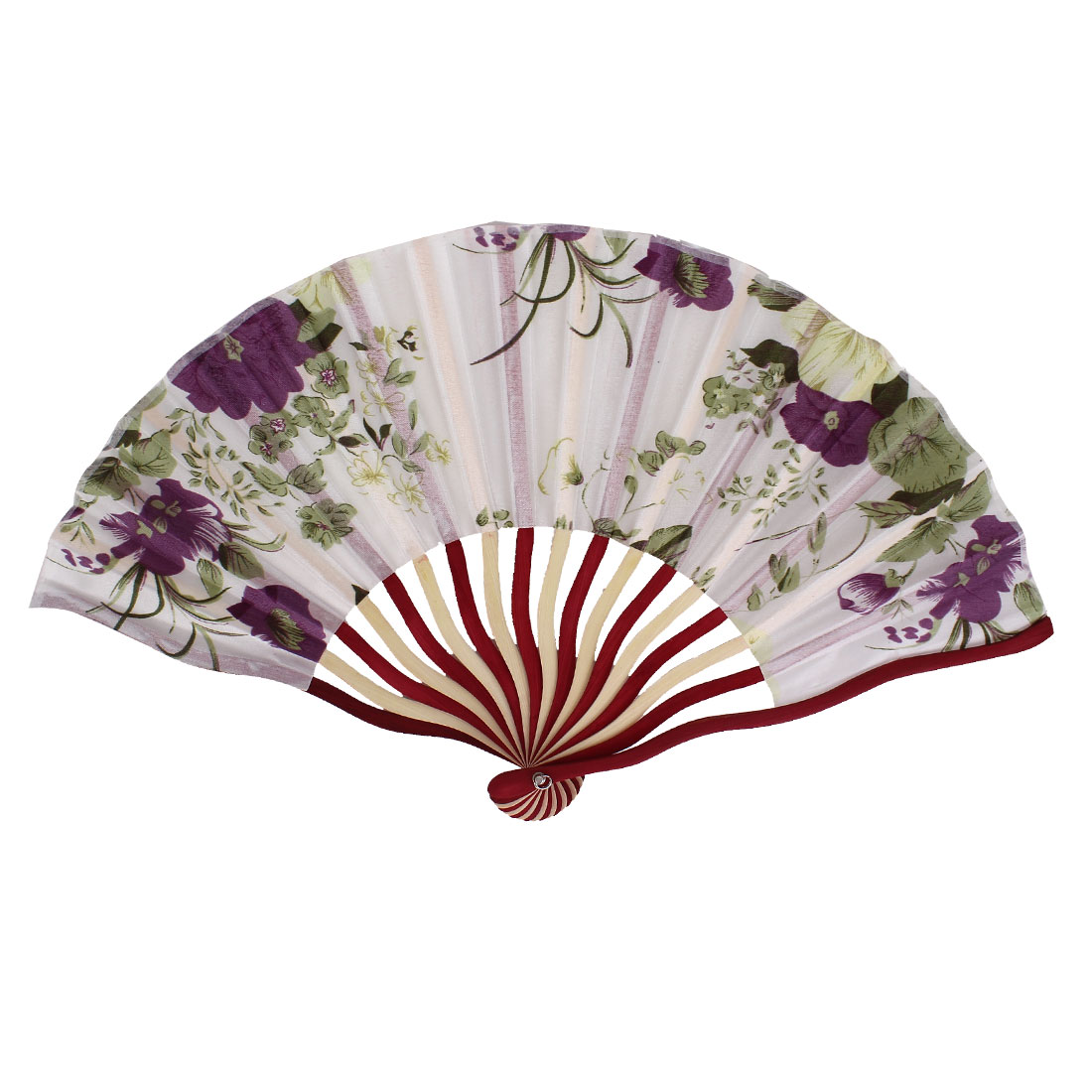 Chinese Tradition Blooming Peony Flower Print Ivory Red Bamboo Frame White Fabric Cloth Handheld Collapsible Hand Fan