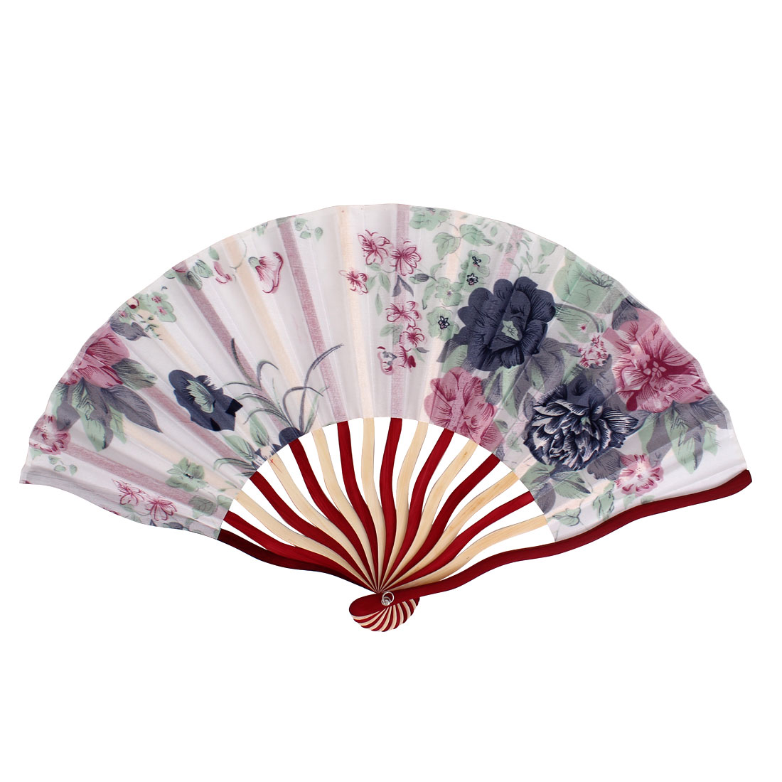 Chinese Tradition Blooming Peony Flower Print Fabric Cloth Ivory Red Wood Frame Handheld Foldable Hand Fan