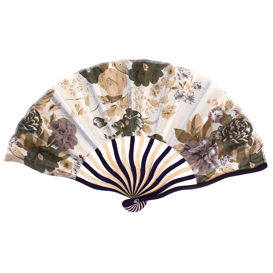 Chinese Tradition Blooming Peony Flower Print Ivory Indigo Blue Wood Frame Beige Fabric Cloth Handheld Foldable Hand Fan