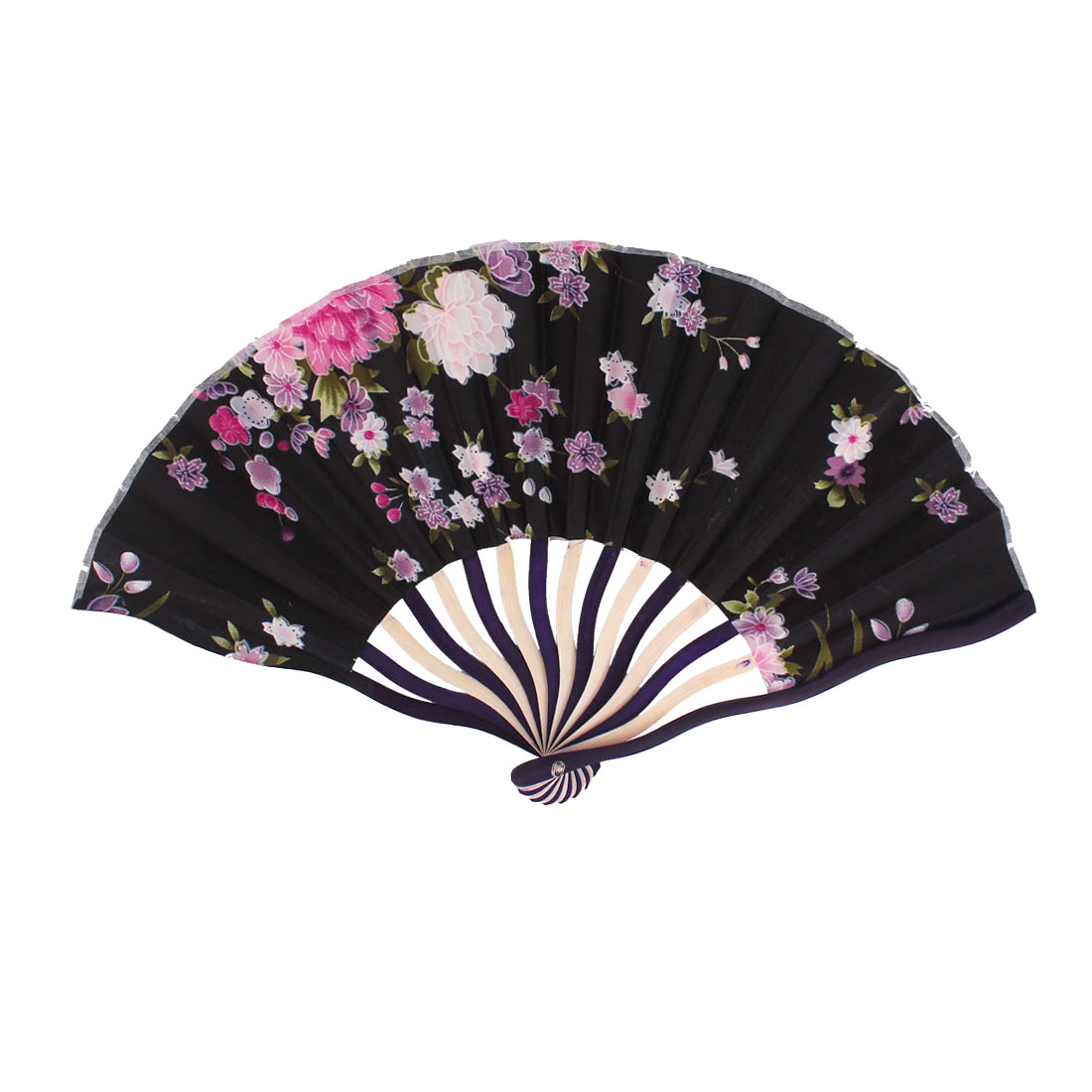 Chinese Tradition Blooming Peony Flower Print Black Fabric Cloth Ivory Purple Wood Frame Handheld Foldable Hand Fan