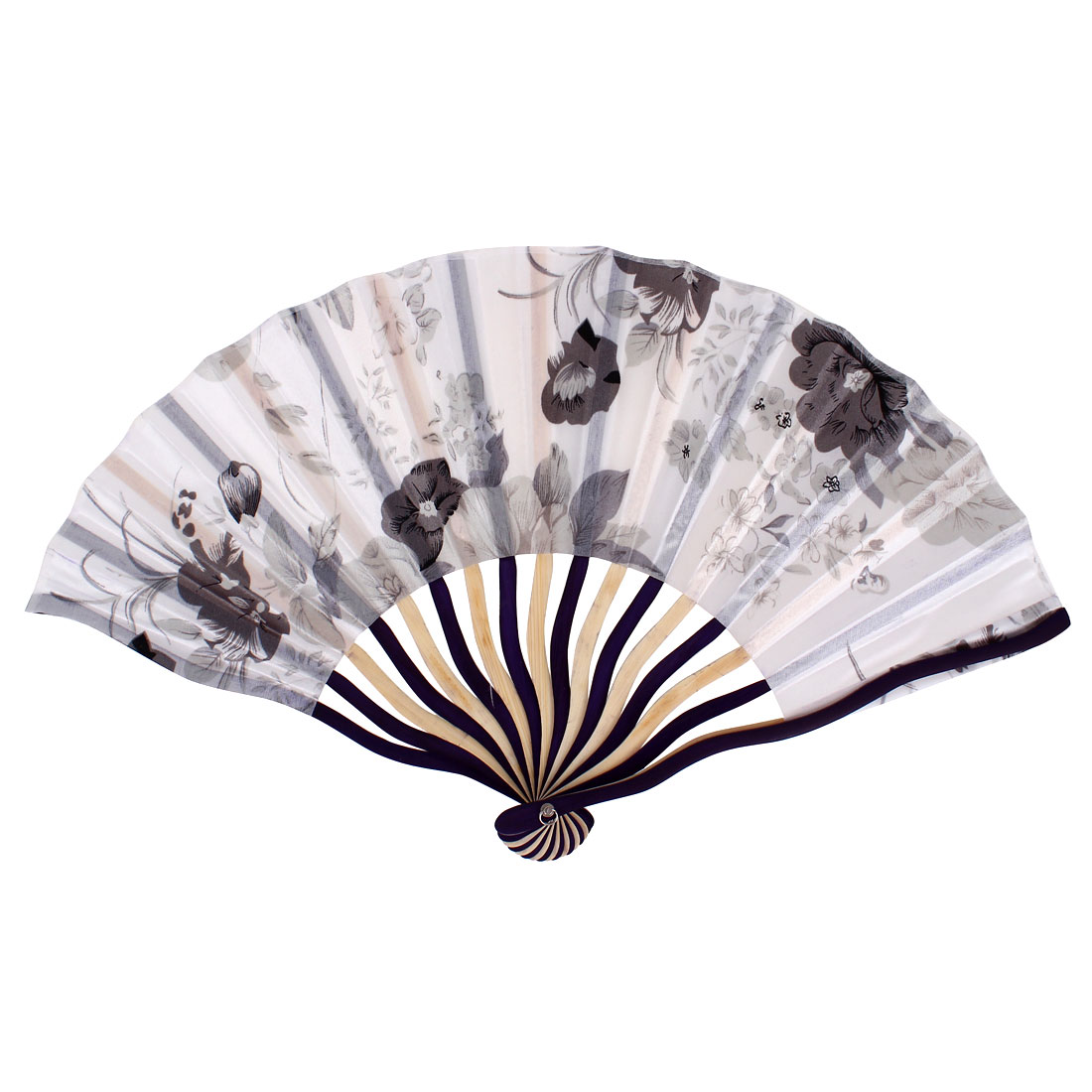 Chinese Blooming Peony Flower Print Ivory Purple Wood Frame Gray Fabric Cloth Handheld Collapsible Hand Fan
