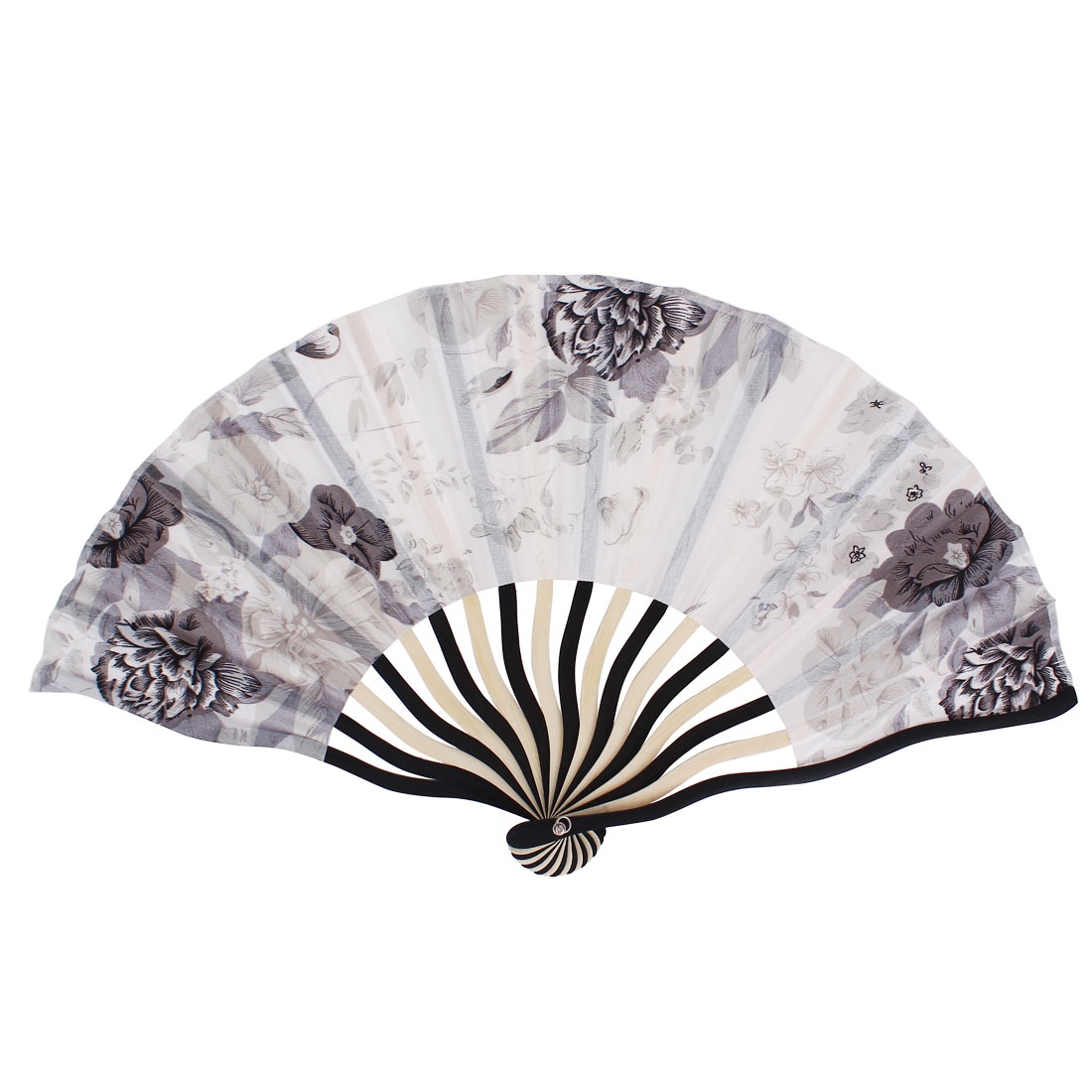 Chinese Blooming Peony Flower Print Ivory Black Bamboo Frame Gray Fabric Cloth Handheld Folding Hand Fan