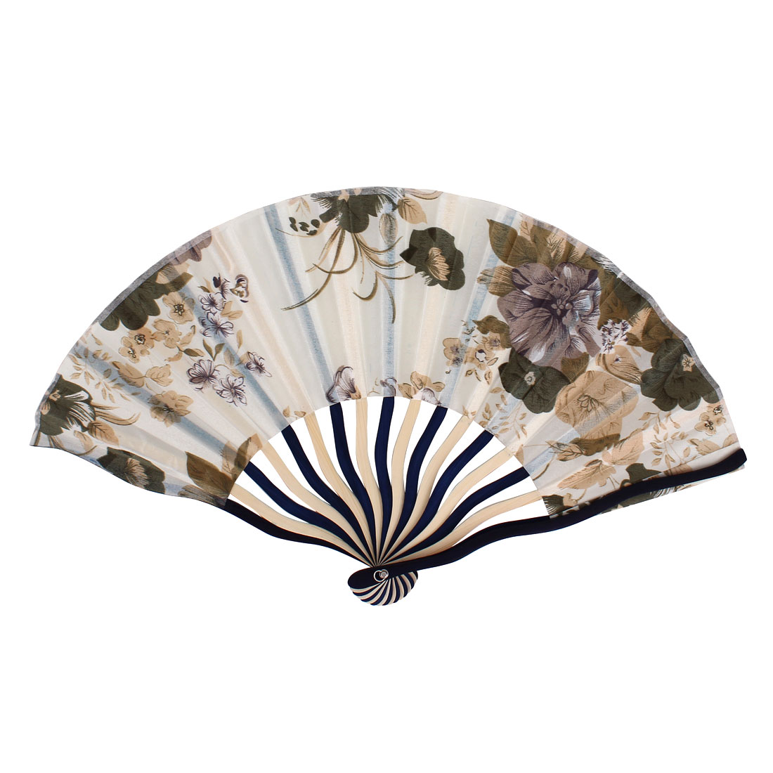 Chinese Blooming Peony Flower Print Ivory Blue Bamboo Frame Beige Fabric Cloth Handheld Folding Hand Fan