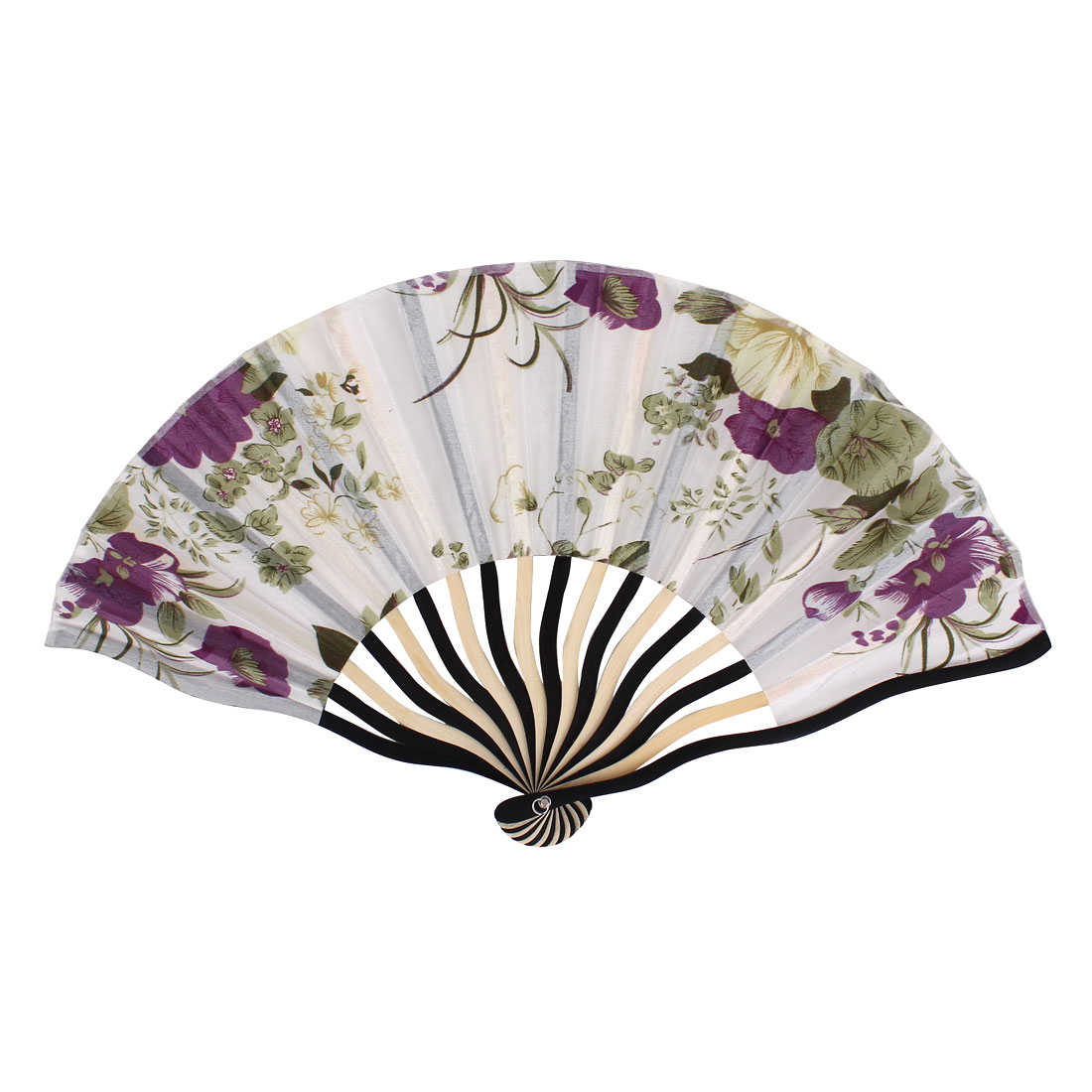 Chinese Blooming Peony Flower Print Ivory Black Wood Frame White Fabric Cloth Handheld Folding Hand Fan