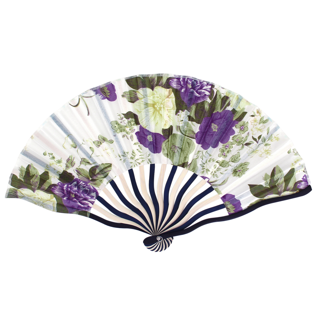 Chinese Tradition Blooming Peony Flower Print Fabric Cloth Ivory Blue Bamboo Frame Handheld Foldable Hand Fan