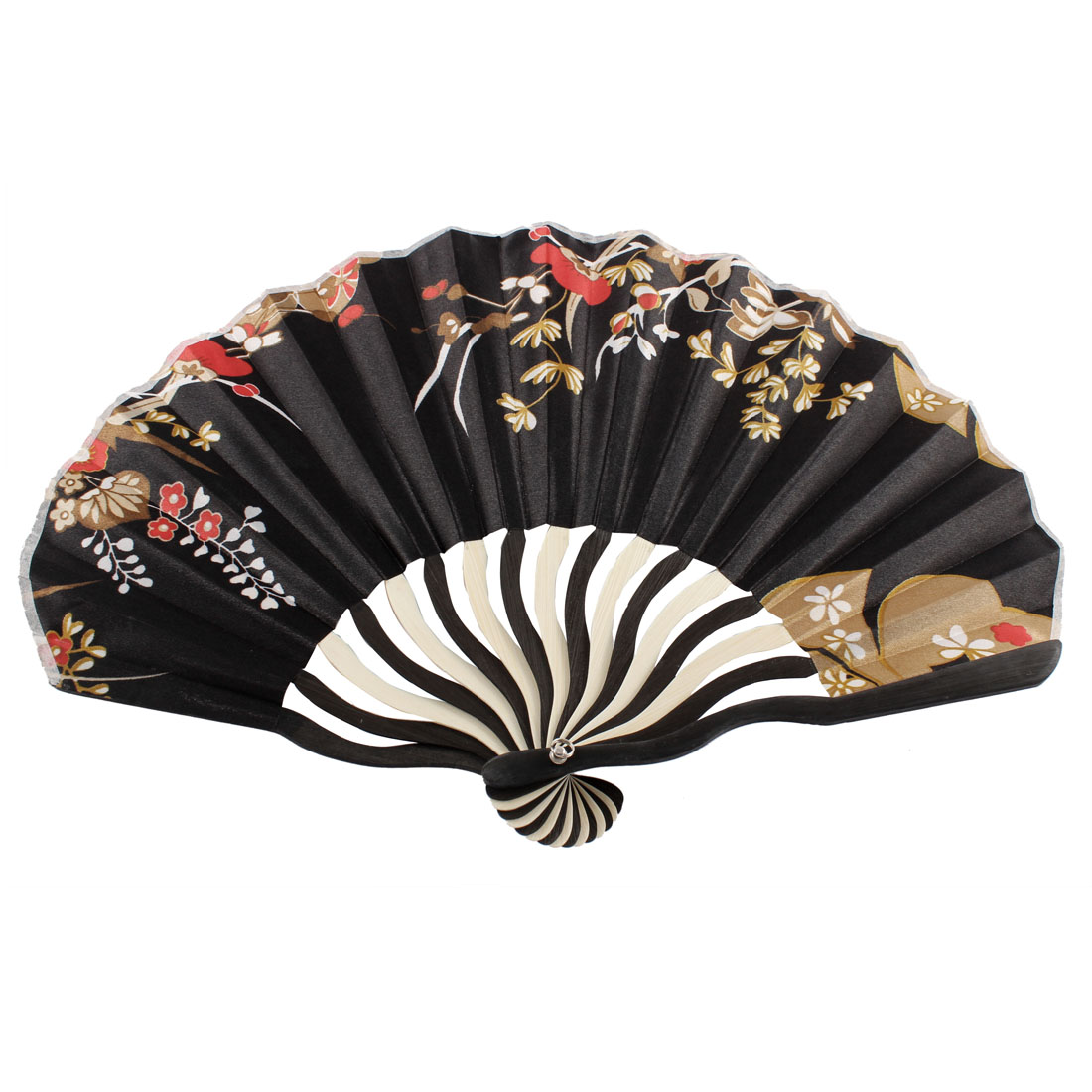 Japanese Style Floral Pattern Bamboo Rib Fold Hand Held Fan Art Ornament for Lady