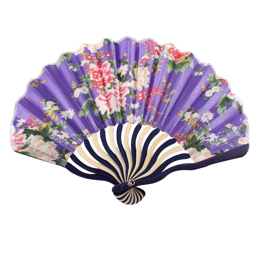 Women Japanese Style Flower Printed Nylon Bamboo Frame Folded Hand Fan Art Gift