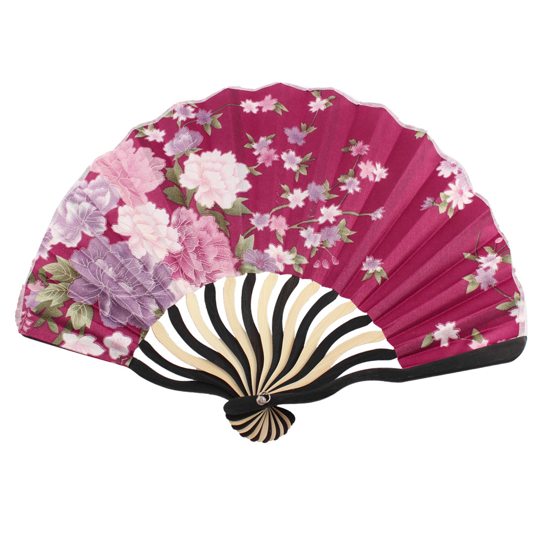 Japanese Style Floral Printed Bamboo Frame Foldable Handheld Hand Fan Art Decoration Burgundy