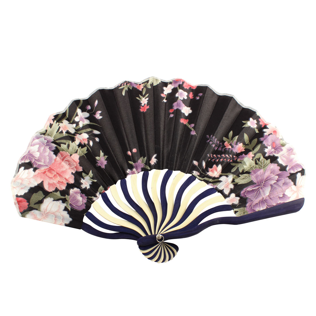 Wedding Party Japanese Style Flower Pattern Nylon Bamboo Rib Folding Hand Fan Art Gift