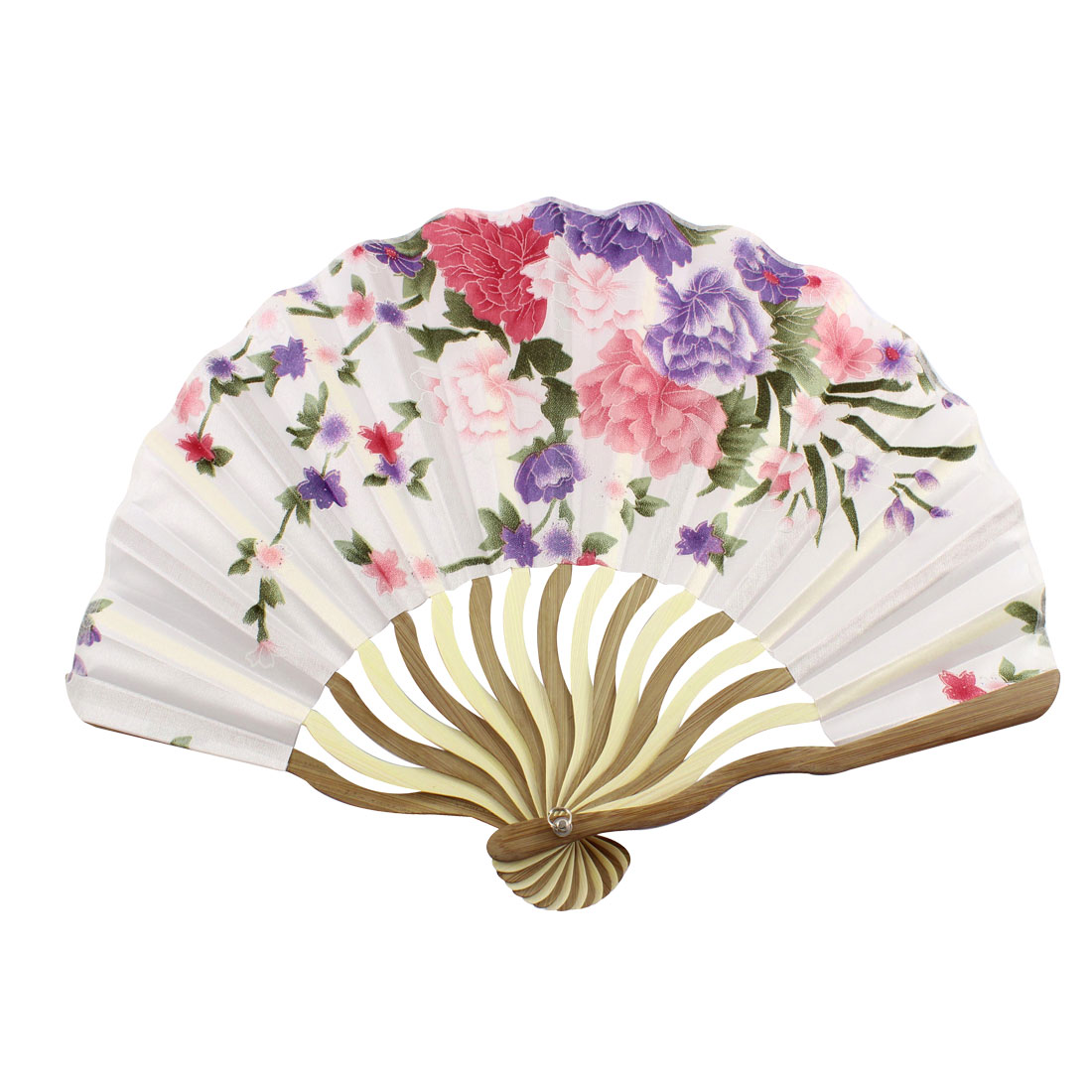 Japanese Style Flower Printed Bamboo Rib Foldable Hand Held Fan Gift Decoration