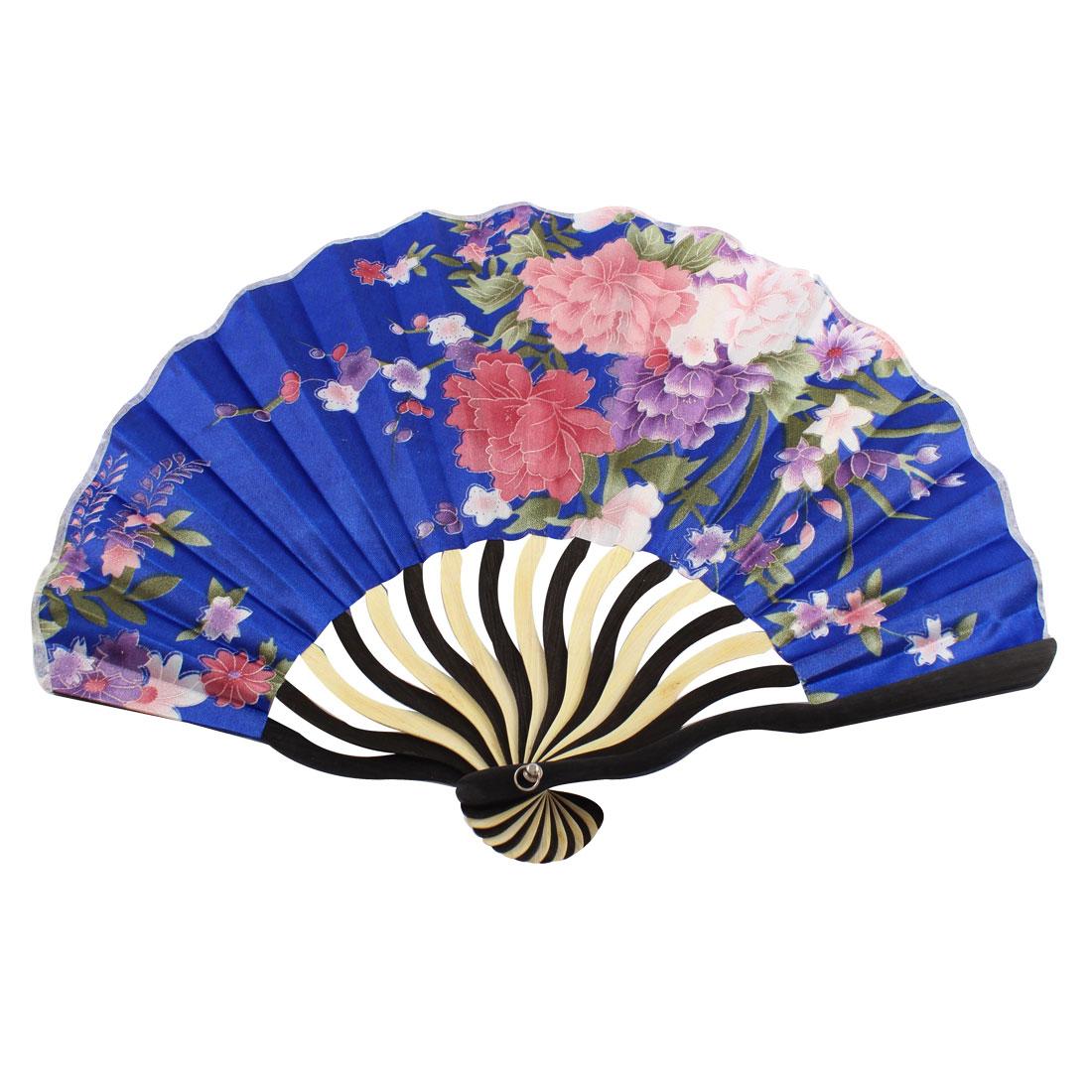 Japanese Style Flower Printed Nylon Bamboo Frame Folding Hand Fan Art Gift Decoration