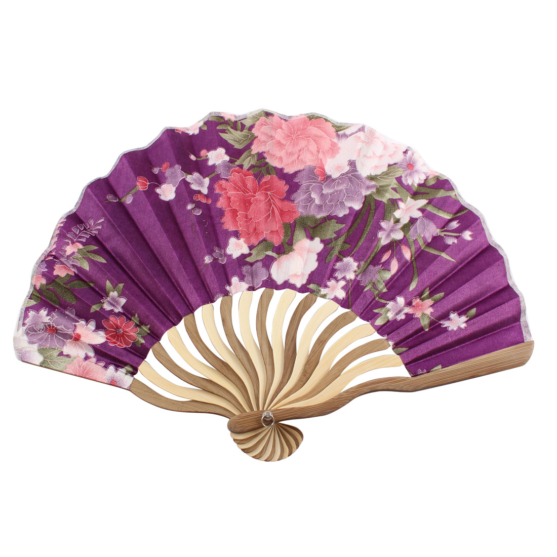 Lady Dancer Party Flower Pattern Nylon Bamboo Rib Portabie Foldable Hand Held Fan Gift Decoration