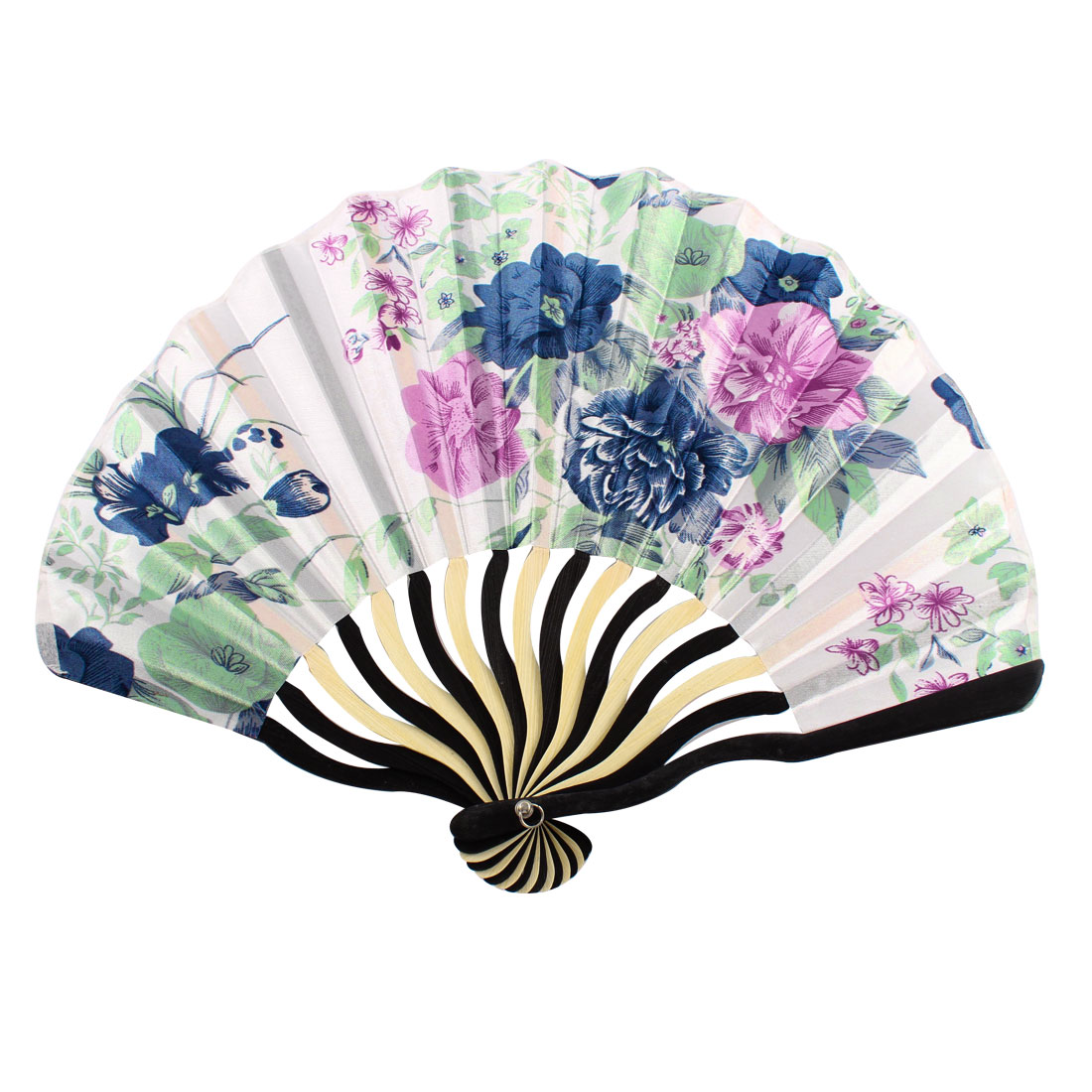 Japanese Style Flower Printed Bamboo Rib Portable Foldable Hand Fan Fans Art Gift