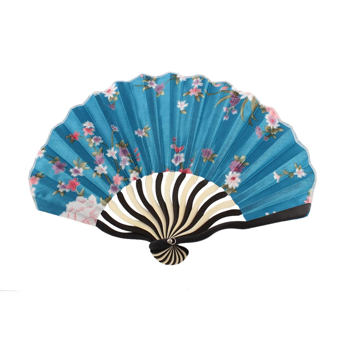 Dancer Summer Wedding Party Flower Pattern Nylon Bamboo Rib Foldable Hand Fan Gift Decoration