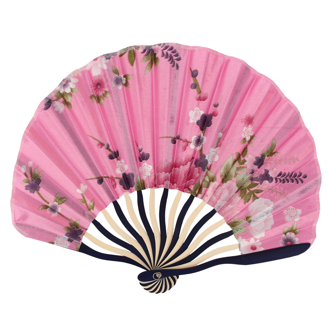 Japanese Style Flower Printed Bamboo Rib Portable Foldable Hand Fan Fans Art Ornament Pink