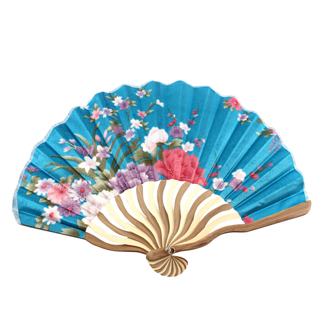 Flower Printed Nylon Bamboo Rib Portable Folded Hand Fan Art Gift Ornament for Women