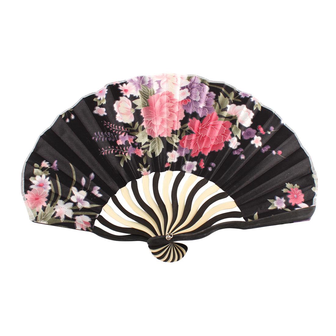 Lady Summer Wedding Party Flower Printed Nylon Bamboo Rib Foldable Hand Fan Fans Art Gift Decor