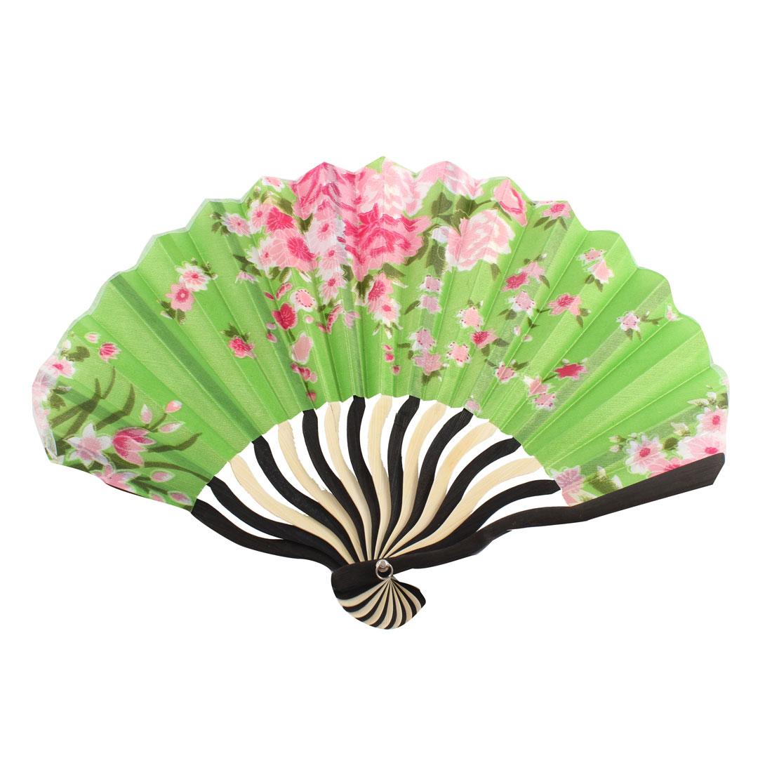 Japanese Style Flower Pattern Nylon Bamboo Rib Fold Hand Fan Fans Art Gift Green For Women