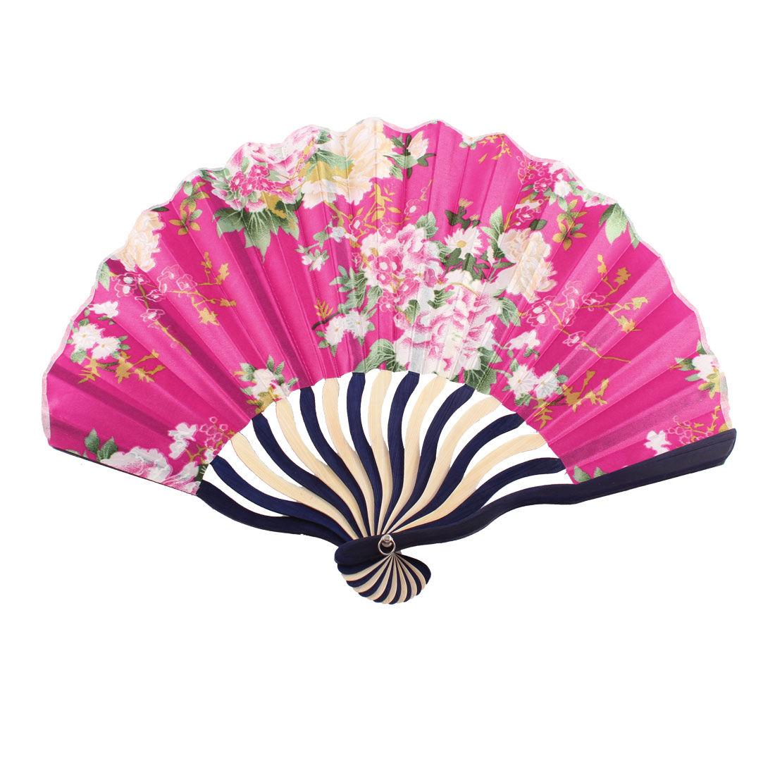 Summer Japanese Style Floral Pattern Bamboo Rib Portable Foldable Hand Held Fan Fans Art Decor