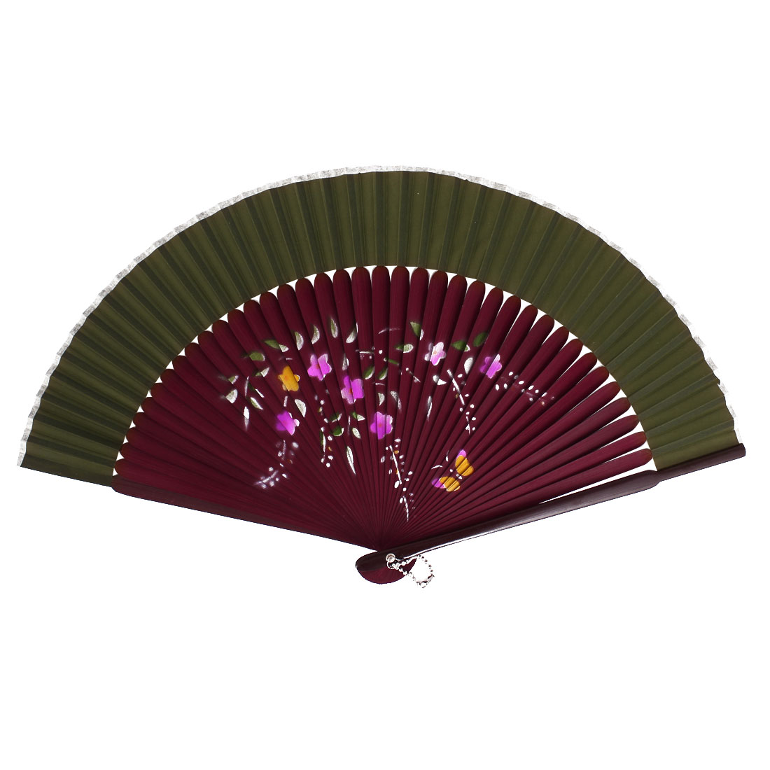 Chinese Style Pink Flower Print Wood Handheld Folding Hand Fan Army Green Burgundy