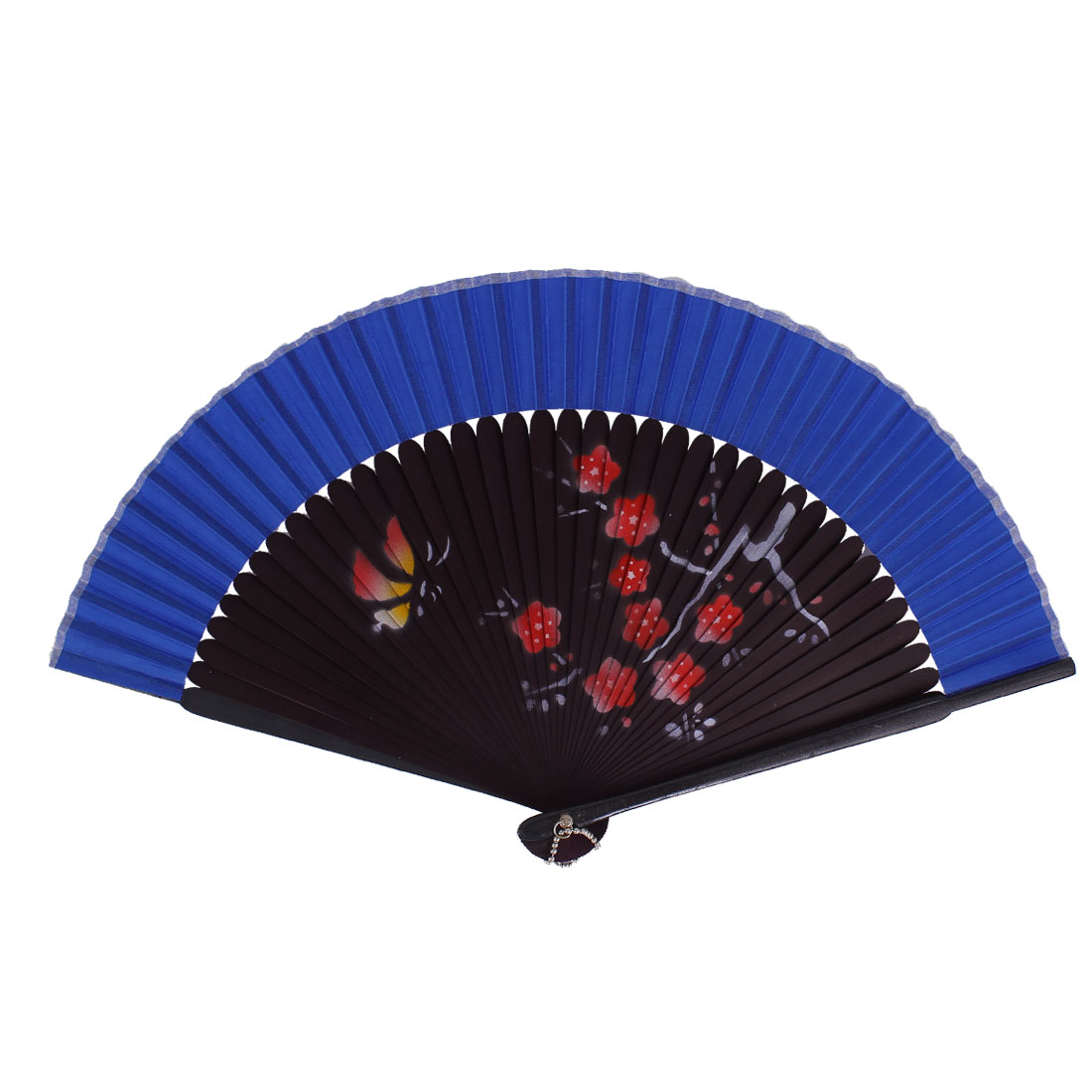 Chinese Style Blooming Flower Print Wood Handheld Folding Hand Fan Blue Eggplant Color