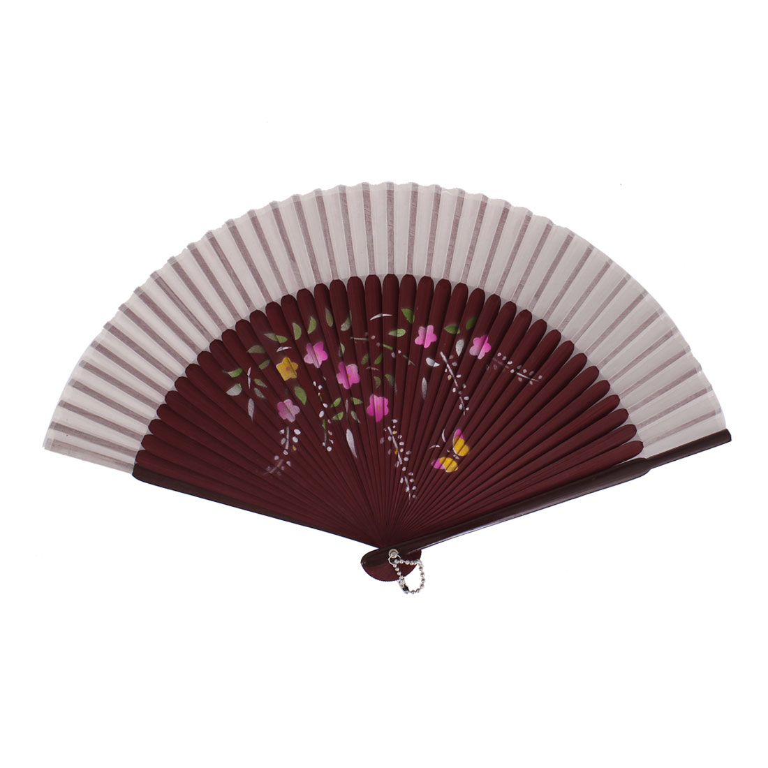 Chinese Style Yellow Butterfly Print Bamboo Handheld Collapsible Hand Fan White Burgundy