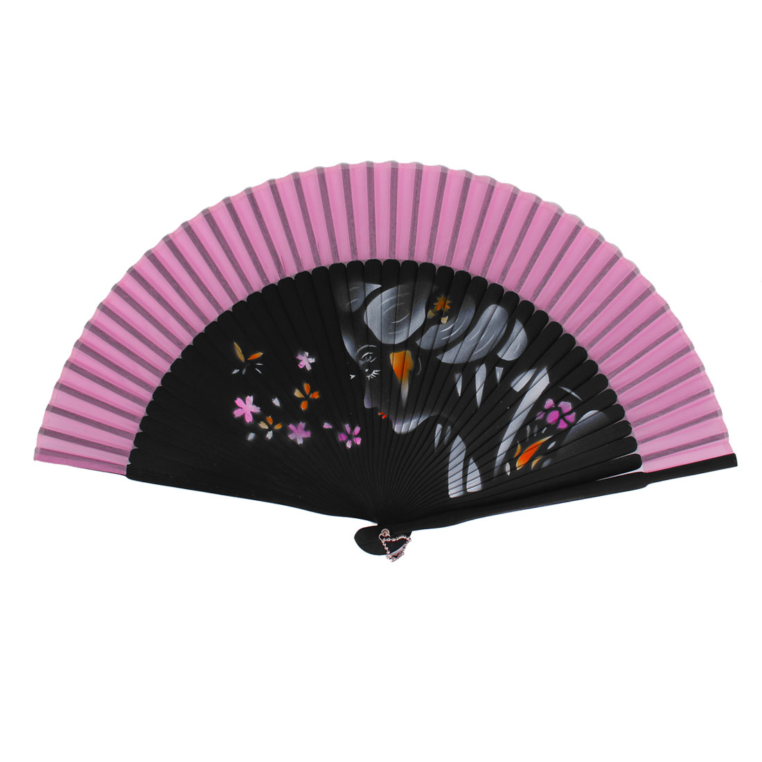 Chinese Style Girls Face Decor Wood Handheld Folding Hand Fan Pink Black