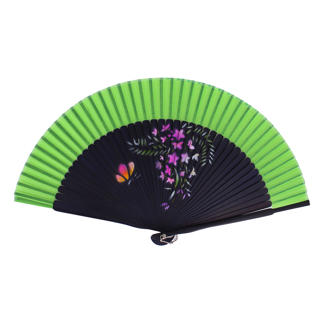 Chinese Style Flower Print Wood Handheld Folding Hand Fan Dark Blue Green