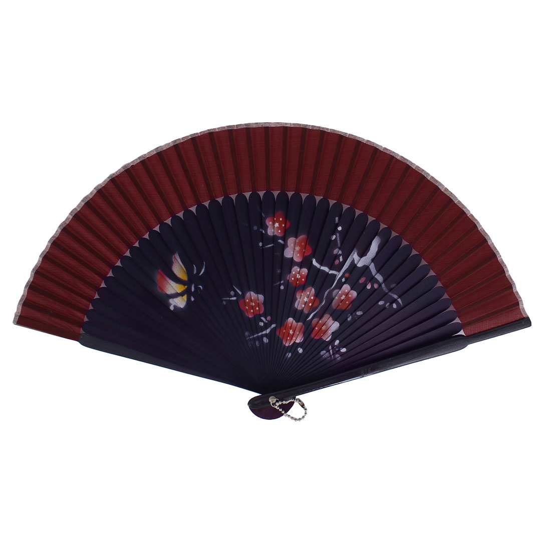 Chinese Style Flower Print Wood Handheld Folding Hand Fan Burgundy Eggplant Color