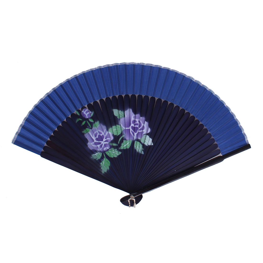 Chinese Style Blooming Flower Print Wood Handheld Folding Hand Fan Blue