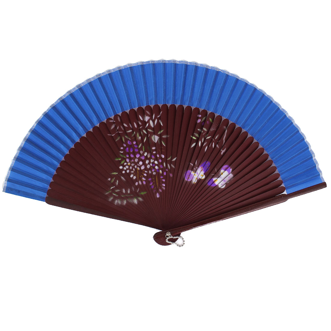 Chinese Style Blooming Flower Print Wood Handheld Folding Hand Fan Blue Burgundy