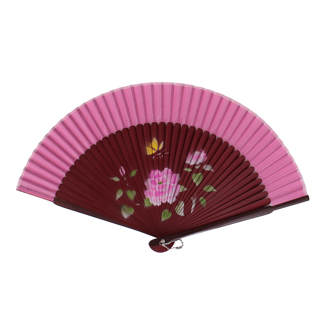 Chinese Style Flower Print Wood Handheld Collapsible Hand Fan Pink Burgundy