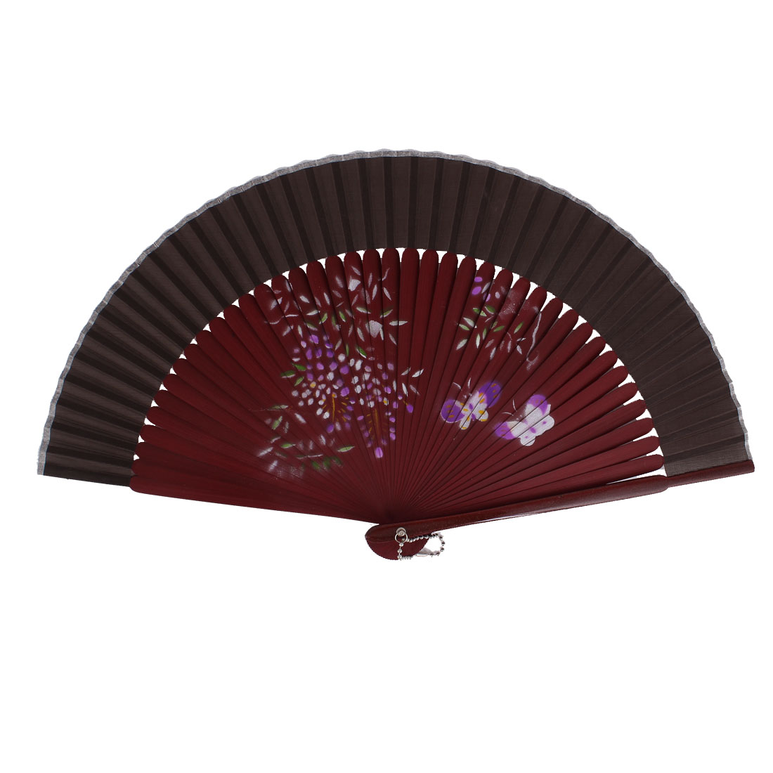 Chinese Style Purple Butterfly Print Wood Handheld Folding Hand Fan Gray Burgundy
