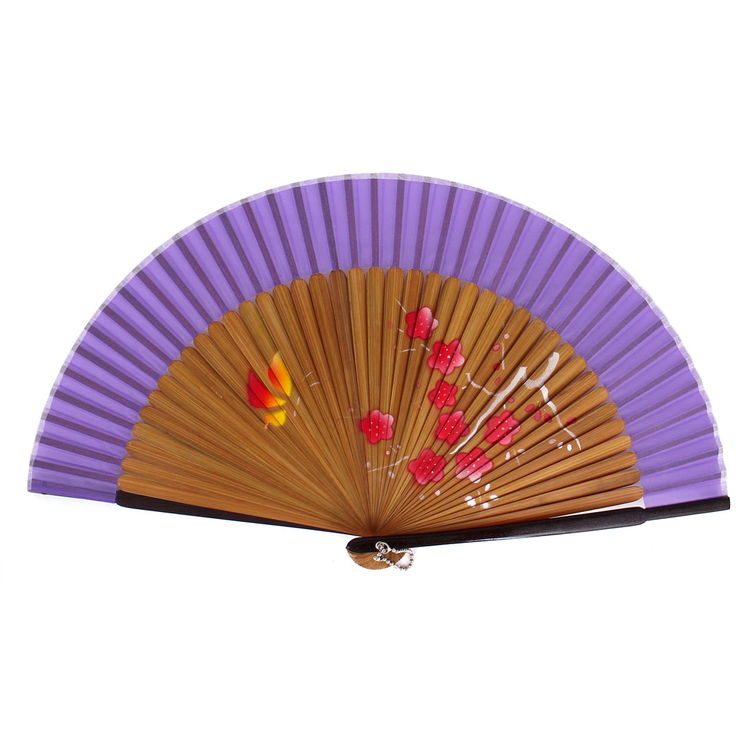 Chinese Style Red Flower Print Bamboo Handheld Folding Hand Fan Purple Yellow