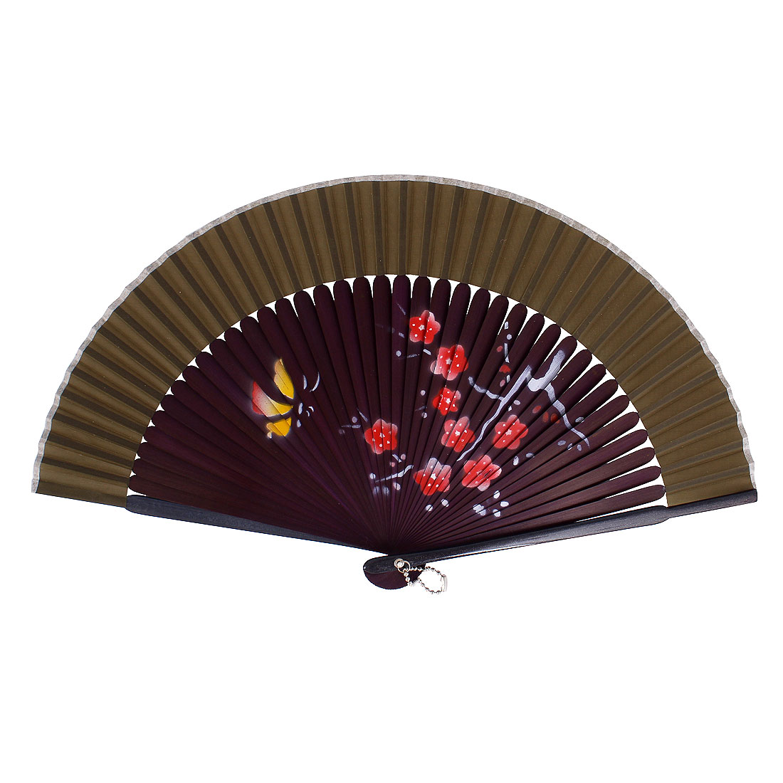 Chinese Style Blooming Flower Print Wood Handheld Folding Hand Fan Oliver Green Dark Purple