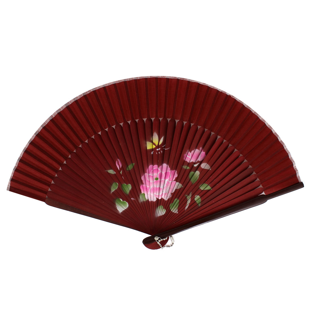 Chinese Style Pink Flower Print Wood Handheld Foldable Hand Fan Burgundy