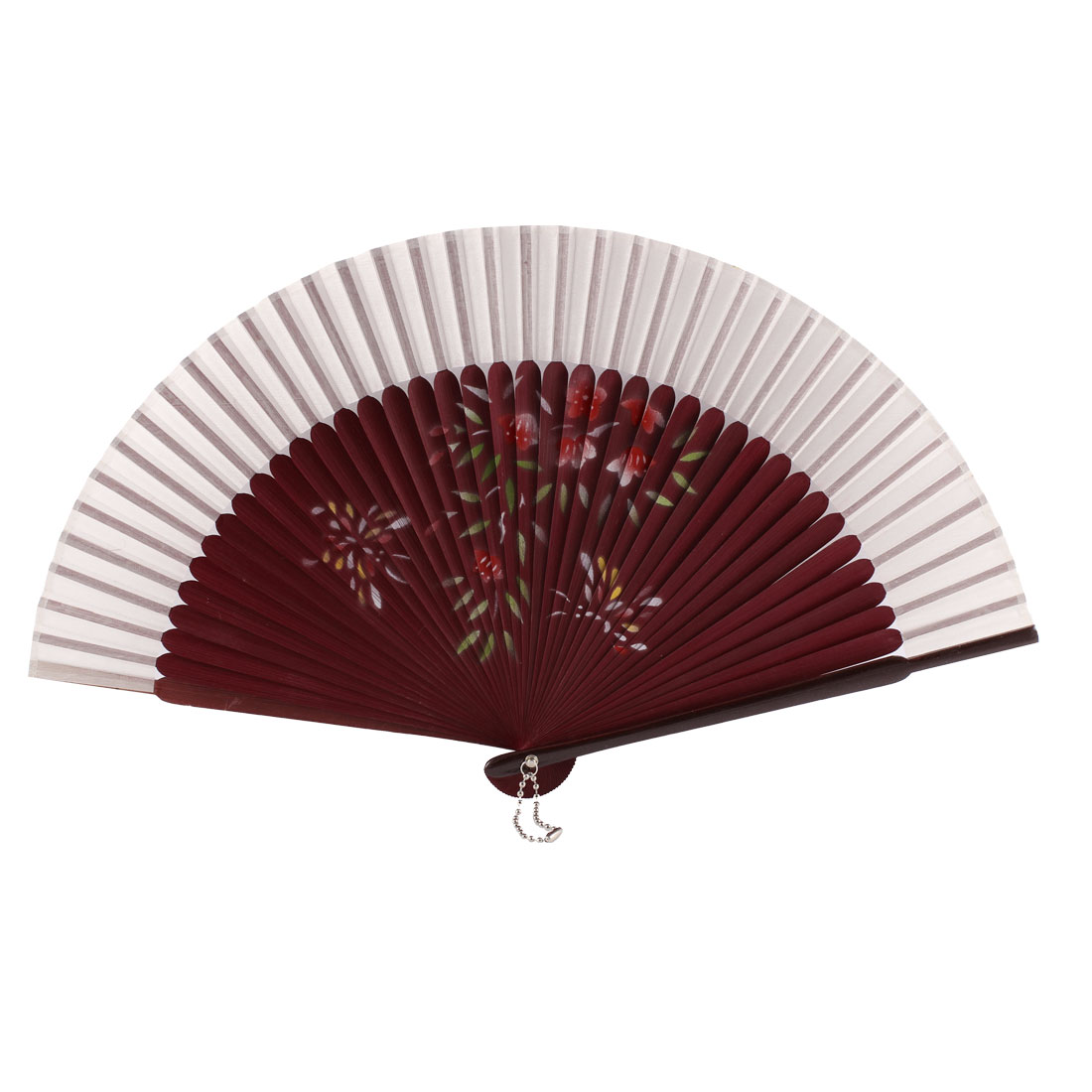 Chinese Style Flower Printed Nylon Bamboo Rib Folding Hand Held Fan Fans Art Decoration White Burgundy