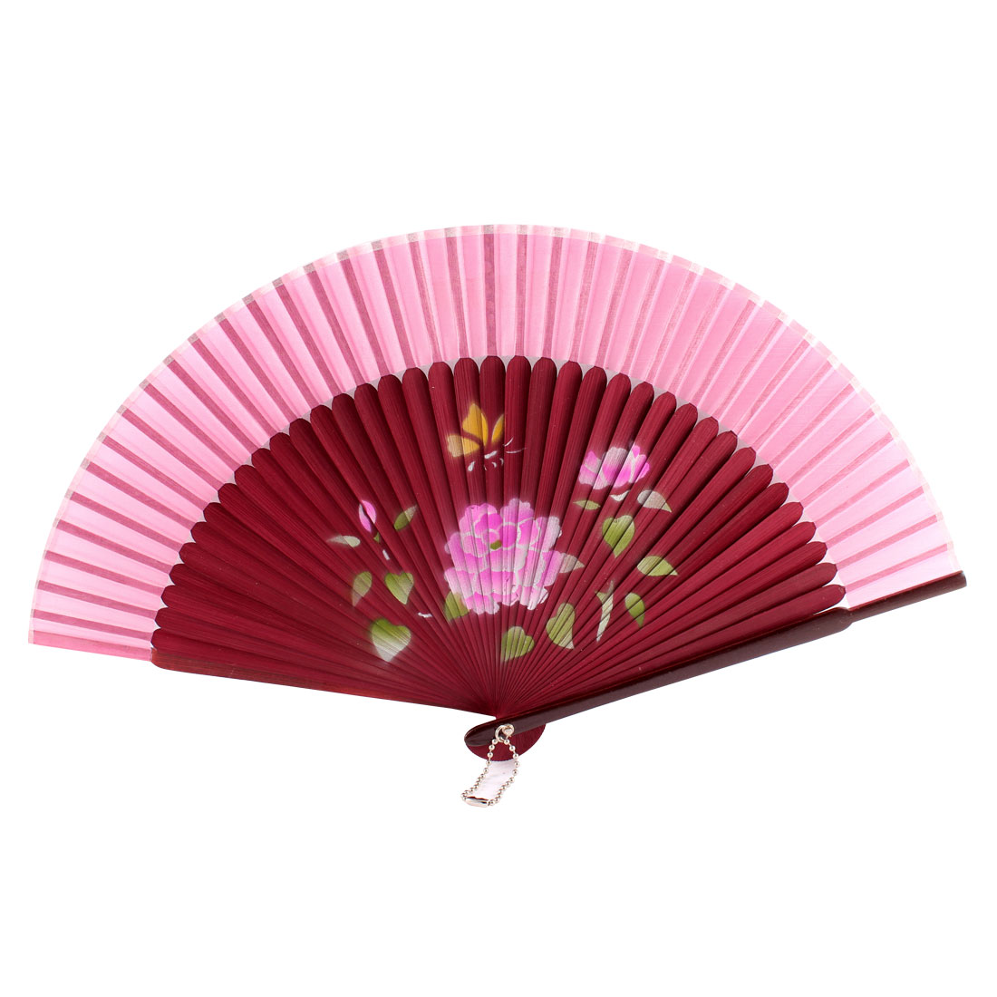Women Summer Wedding Party Lotus Pattern Nylon Bamboo Frame Folding Hand Fan Gift Decoration Burgundy Pink