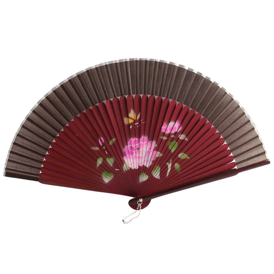 Women Summer Wedding Party Lotus Pattern Nylon Bamboo Frame Folding Hand Fan Gift Decoration Burgundy Brown