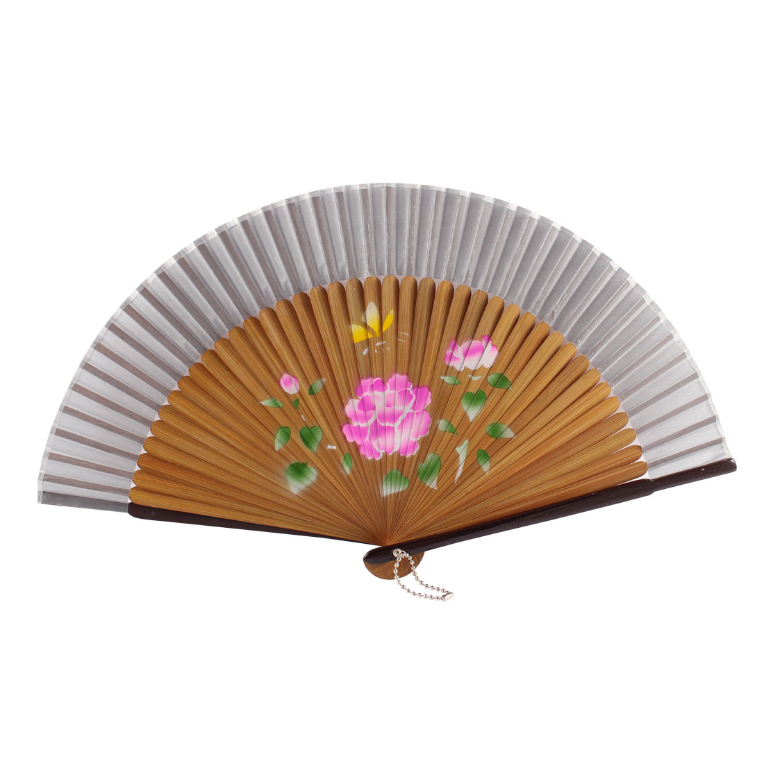 Women Summer Wedding Party Lotus Pattern Nylon Bamboo Frame Folding Hand Fan Gift Decoration Wood Color Gray