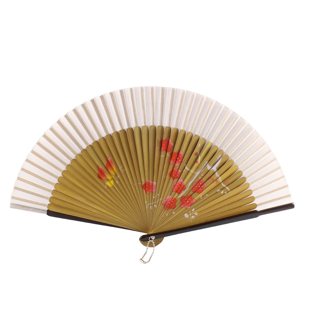 Dancer Summer Wedding Party Plum Blossom Printed Nylon Bamboo Rib Folding Hand Fan Gift Ornament White Wood Color