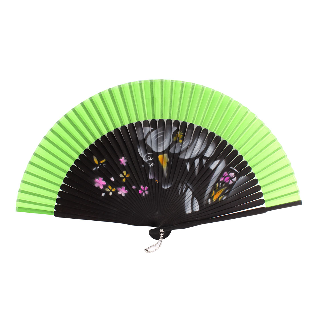 Summer Wedding Dancing Party Girl Flower Pattern Nylon Bamboo Rib Folded Hand Fan Gift Decoration Green Black