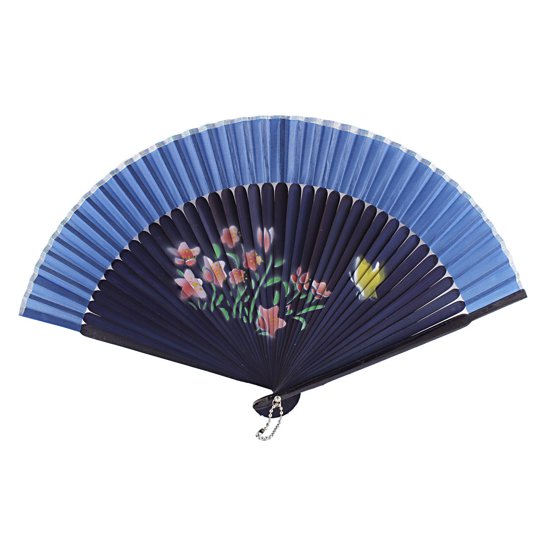 Chinese Style Dancer Wedding Party Flower Butterfly Printed Nylon Bamboo Rib Folded Hand Held Fan Gift Decoration Blue