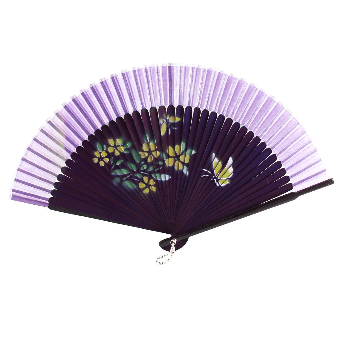 Women Dancing Wedding Party Flower Butterfly Printed Nylon Bamboo Frame Folded Hand Held Fan Fans Ornamnet Purple