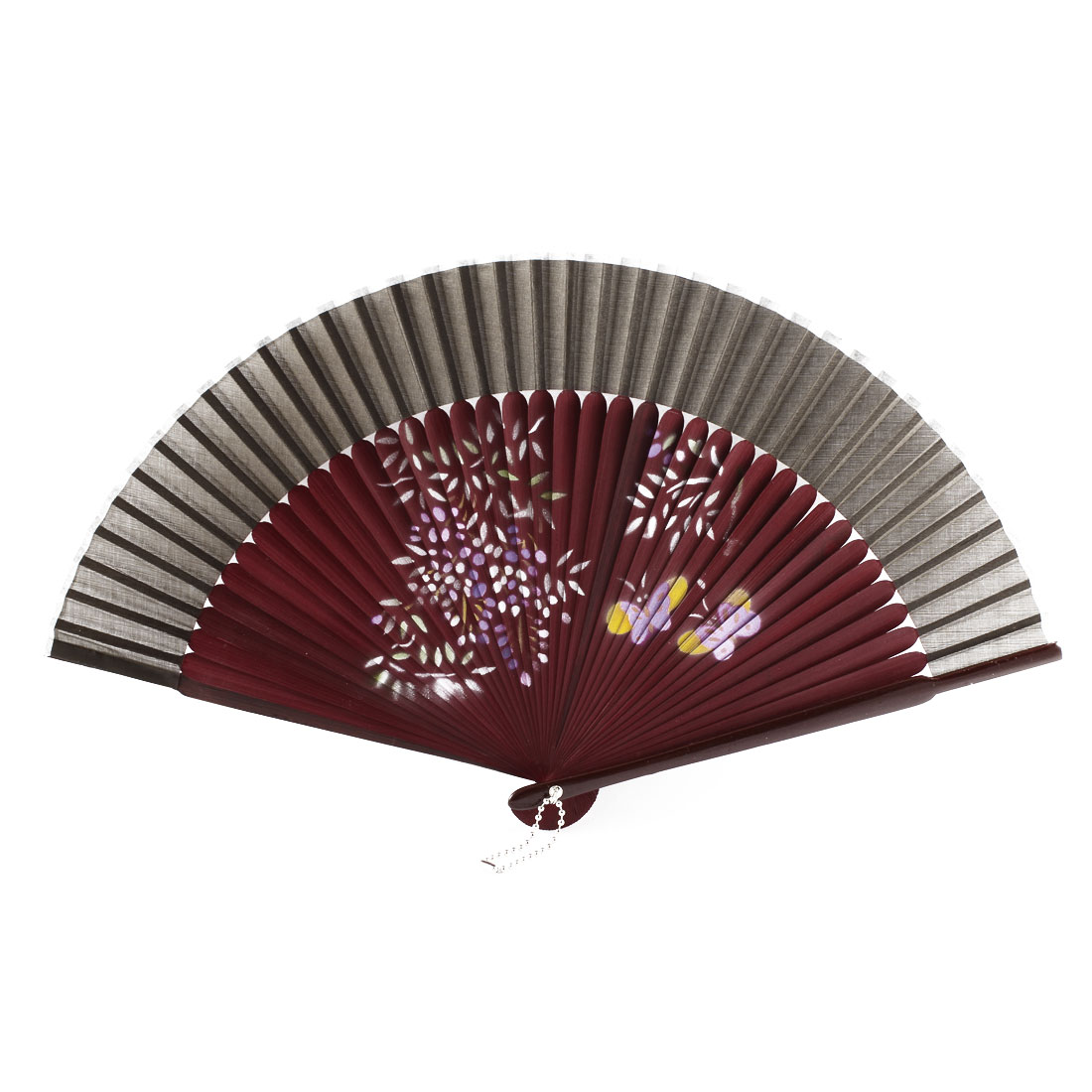 Chinese Style Lady Summer Dancing Party Hand Held Fan Gift Decoration Brown Burgundy