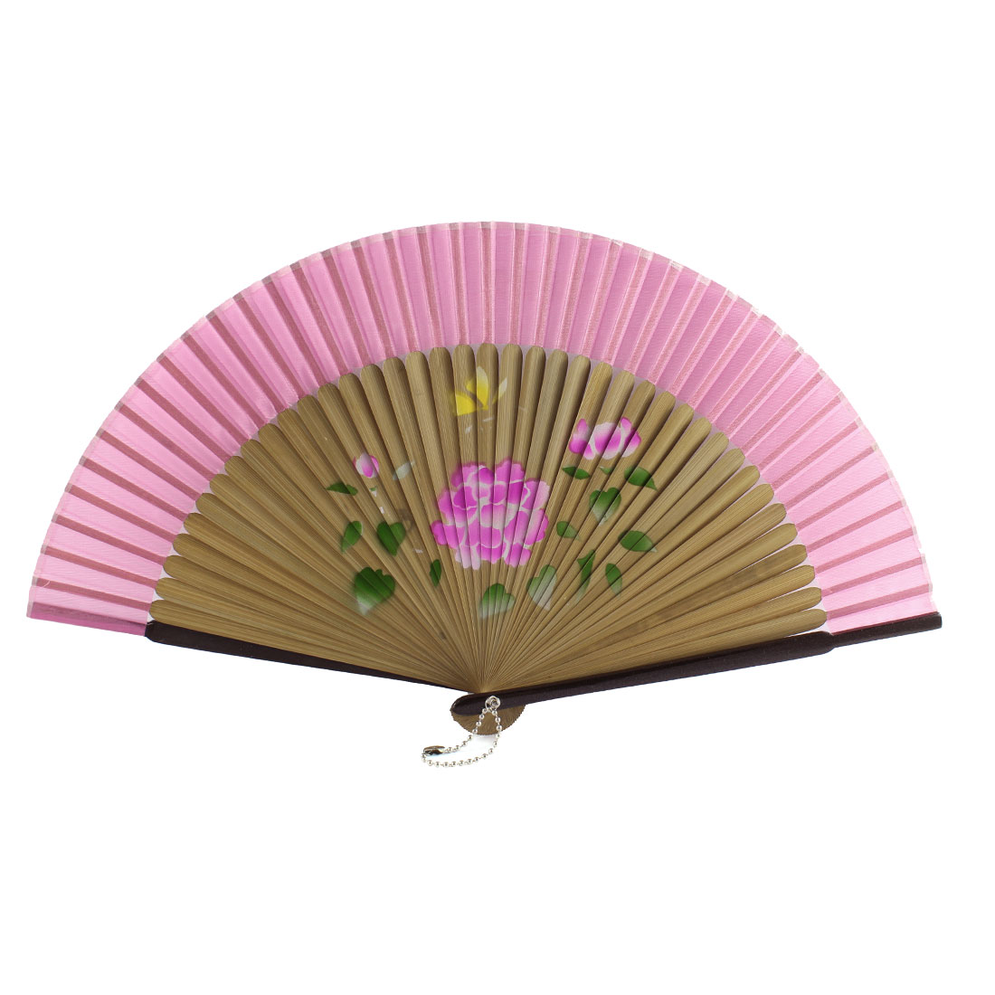 Women Summer Wedding Party Lotus Pattern Nylon Bamboo Frame Folded Hand Fan Gift Decoration Wood Color Pink